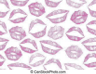 Halftone vector pink lips on white background. Seamless womans lips pattern for template, paper, card, cloth, fabric