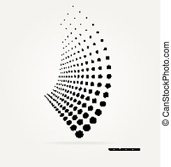 halftone, vektor, dots.