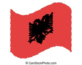 Halftone Wave National flag of Albania Vector illustration eps10