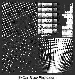 Halftone white pattern isolated on a black background. Vector illustration