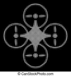 halftone, witte , pictogram, copter, lucht