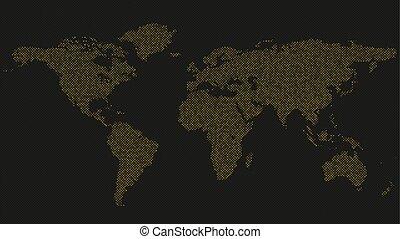 Halftone world map on black background - vector illustration