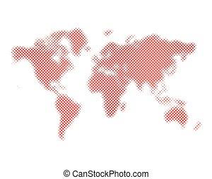 Halftone world map. Vector illustration