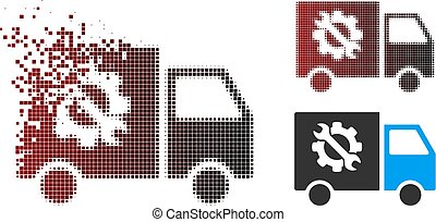 halftone, wyposażenie, wózek, fractured, pixel, ikona