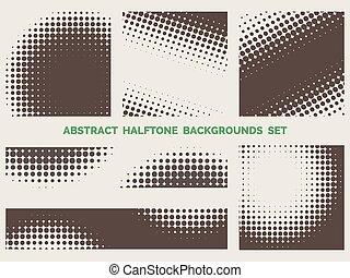 halftone, wzory, komplet, grunge