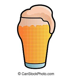 Halftoned style beer glass icon