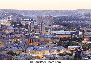Halifax at dusk, West Yorkshire UK