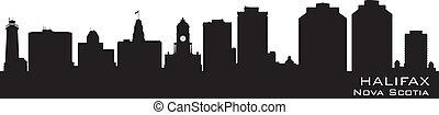 Halifax Canada skyline. Detailed vector silhouette