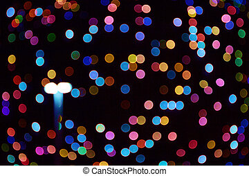 Halifax city lights at night. Abstract blurry circles background