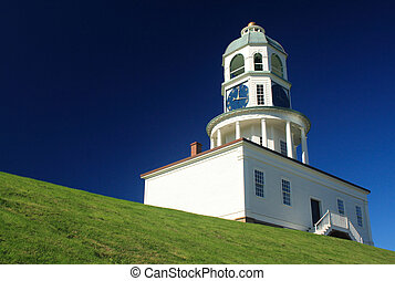 the clock tower at the base of Citadel Hill in Halifax, Nova Scotia