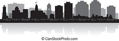 halifax, orizzonte, vettore, città, canada, silhouette