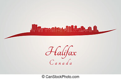 Halifax skyline in red and gray background in editable...