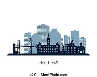 Halifax skyline, monochrome silhouette.