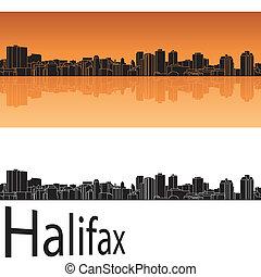 halifax, sylwetka na tle nieba, w, pomarańczowe tło