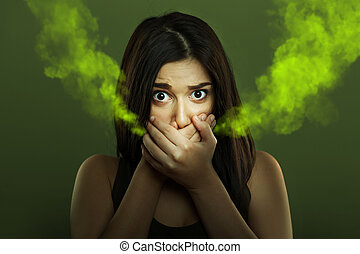 Halitosis concept of woman with bad breath - Halitosis ...