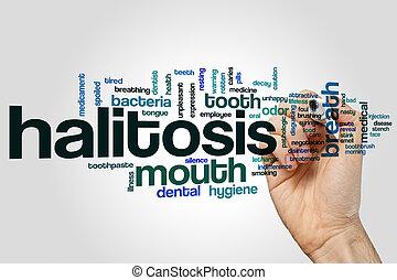 halitosis, palabra, nube