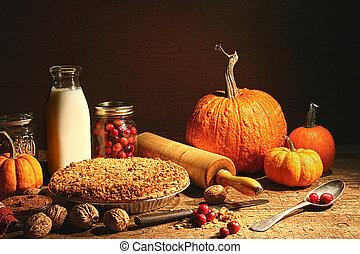 halk élet, közül, ősz, gyümölcs, és, és, elmorzsol, pite