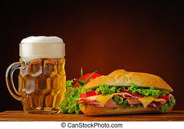 halk élet, szendvics, sör