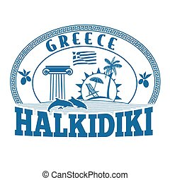 Halkidiki, Greece stamp or label
