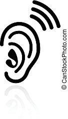 hallás, fül, vektor, ikon