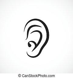 hallásra vonatkozó, fül, vektor, ikon