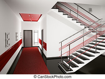 Hall 3d render - Modern interior of hall with stair 3d...