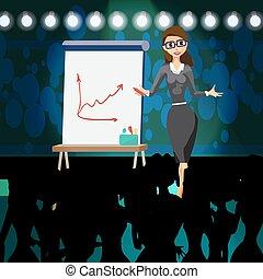 hall., apartamento, esboço, mulher, projeto, explicando, executiva, mostrando, ilustração, estratégia, diagrama, planificação, vetorial, tábua, meeting., marcador, desenhado, branca, apresentação, caricatura, plano
