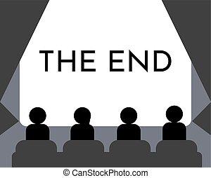 hall., concert., illustration., oglądający film, ekran, kino, ludzie, koniec, wektor, pokaz, albo, film