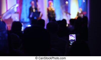 hall., concert, séance, jazz, gens, salle