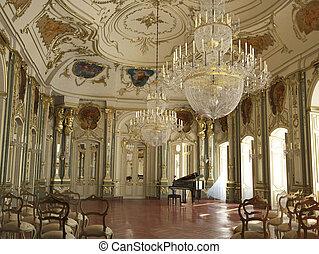 hall., concierto, grande, majestuoso, adornado, piano