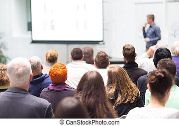 hall., conférence, audience
