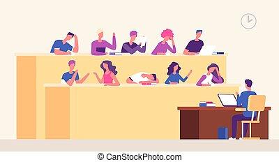 hall., conférencier, concept, salle, professionnels, étudiants, étudier, jeune, entraînement, vecteur, apprentissage, conférence, auditorium., séminaire