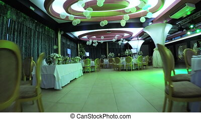 Decorating banquet hall for celebration of wedding