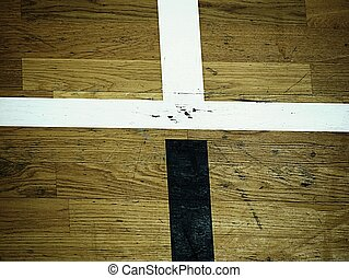 Hall floor in a gymnasium with crossed lines. Contour lines of basketball and handball playgrounds.