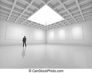 Hall for exhibitions with blank canvas and figure of man