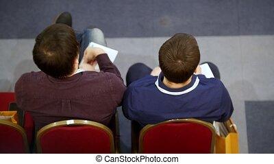 hall., formation, business, séance, gens, début, attente, adulte, fauteuils, rouges