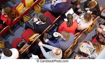 hall., formation, business, séance, téléphones, gens, portables, début, attente, fauteuils, rouges