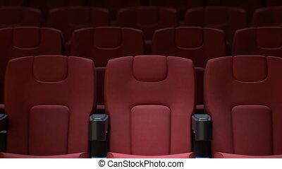 hall., hałasy, sztuka, kino, krzesła, media, concept., dof, ...