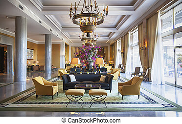 hall in luxury hotel - decoration of entree hall in luxury...