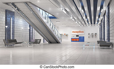 Hall interior with stairs. 3d illustration