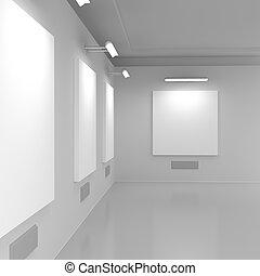 hall., moderne, présentation, galerie