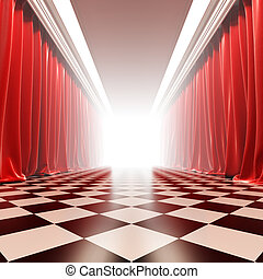 Hall of fame. A 3d illustration of empty hall with red...