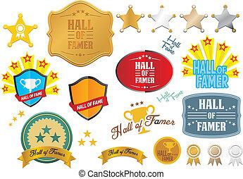 hall of famer badges - vector sets - suitable for user...