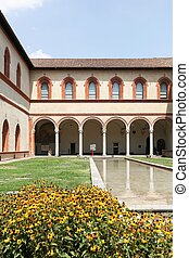 Hall of the Ducal Court in Sforza castle in Milan, Italy