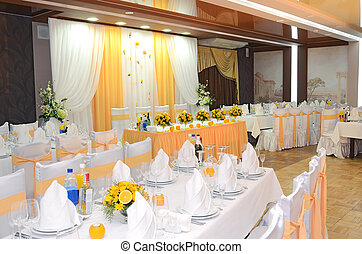 hall restaurant is decorated for realization of holiday