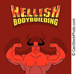 hall., riesig, teufel, biceps., vektor, groß, strongman, fitness, abbildung, underworld., turnhalle, satan, hörner, hellish, illustration., hell., muscles., rotes , bodybuilding.