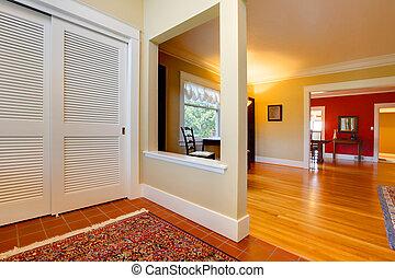 hall, rum, levande, vägg, stort, öppna, röd, trevlig