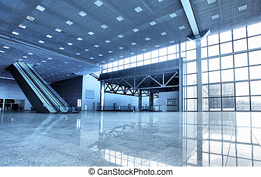 Hall - Large modern hall with windows and escalator