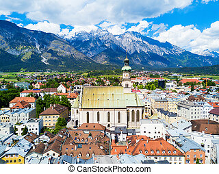 Pfarrkirche St. Nikolaus or St. Nicholas Paris Church aerial panoramic view, catholic church in Hall in Tirol, Tyrol region of Austria