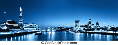 hall., ville, angleterre, panorama, horizon, uk., tesson, londres, rivière, nuit, tamise